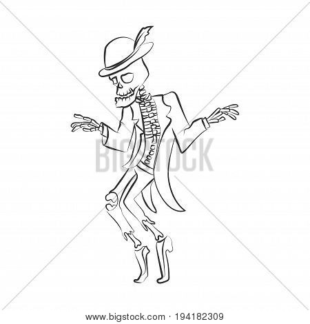 Dancing sceleton. Vector illustration. Black silhouette on white isolated background. Could be used for Halloween decoration, prints, greeting card or invitation.