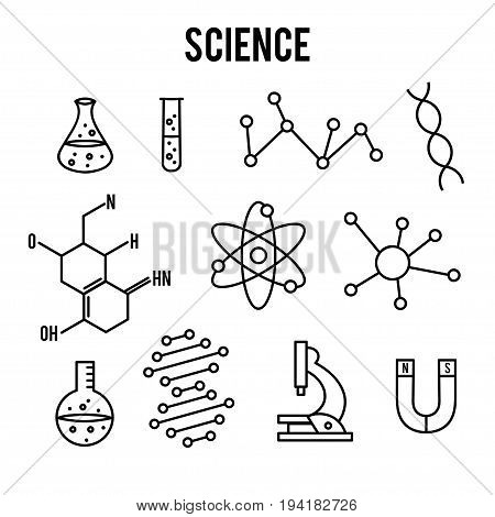 Science icons on white background. Research outline icon. Tiny line vector elements. Laboratory and education set. Medicine, technology, chemisrty