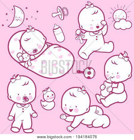 Baby's daily routine: babies sleeping, playing, walking, drinking milk, crawling.