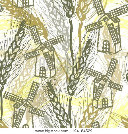 Ink hand drawn seamless pattern with mill on wheat field
