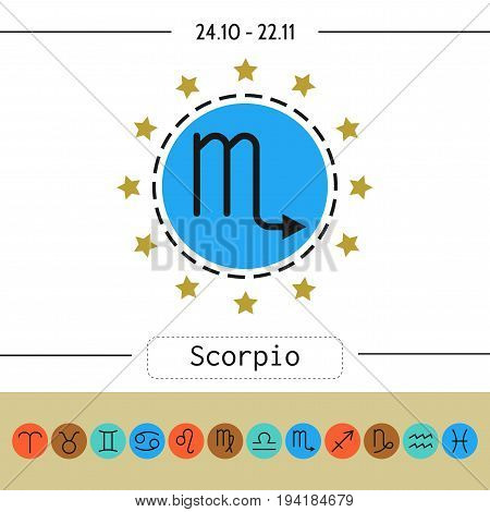 Scorpio. Signs of zodiac, flat linear icons for horoscope, predictions. illustration