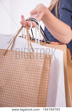 Shoping bags in hand. Shoping concept. Shoping bags.
