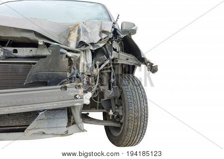 Accident on front of black car isolated on white background with clipping path
