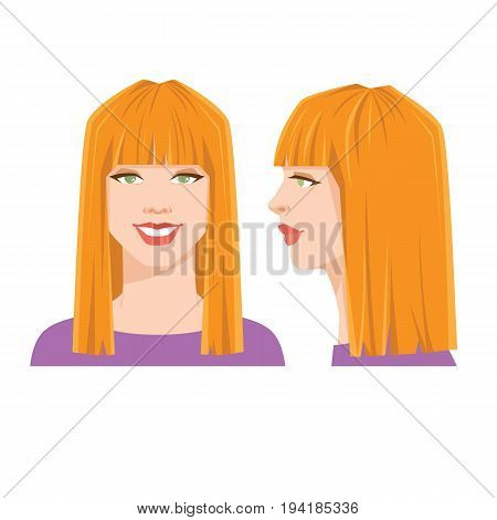 Vector illustration of beautiful woman's face on white background. Various turns heads. Face in front view and face in side view. Woman with geometric haircut with straight bang