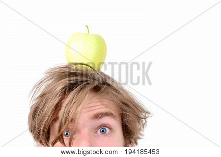 Guy With Surprised Face And Fresh Fruit On His Head