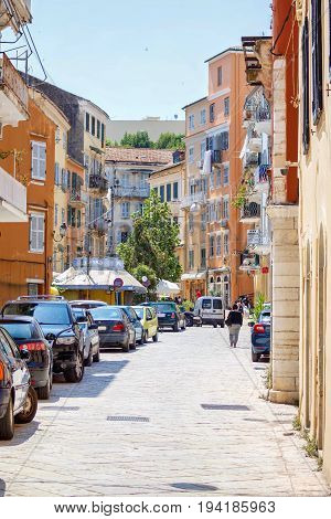 CORFU ISLAND, GREECE - JUNE 26, 2017: Tourist streets of Corfu city, Greece. Daylight view