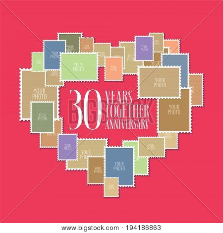 30 years of wedding or marriage vector icon illustration. Template design element with photo frames and heart shape for celebration of 30th wedding anniversary