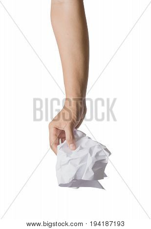 Hand catch white crumpled paper isolated on white background. File contains a clipping path.