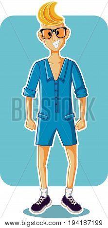 Funny Cartoon Man Wearing Male Romper Vector Illustration