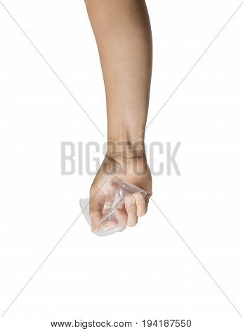 Hand holding plastic glass isolated on white background. File contains a clipping path.