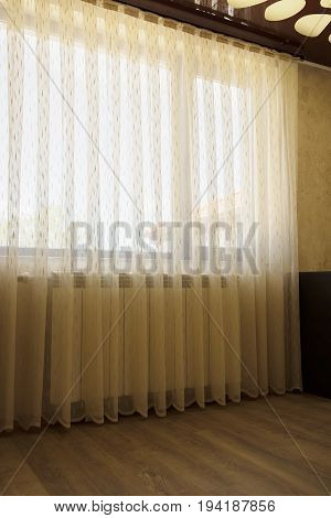 Window With Beige Sheer Curtains, Interior Decoration Concept.