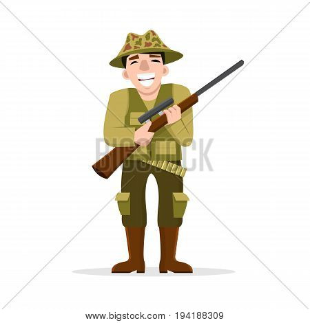 Vector illustration of happy hunter with a gun isolated on white. Flat design. Cartoon male character. A rifleman in khaki.