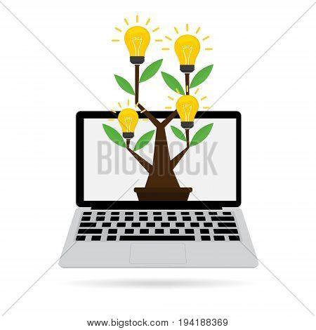 Idea tree with idea light bulb on computer laptop with internet online. Vector illustration online internet business idea concept design.