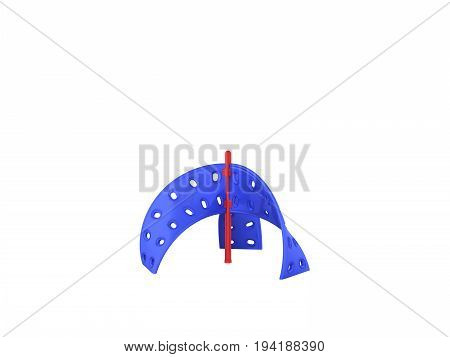 Childrens Playground Rock Climber Blue Red 3D Render On White Background No Shadow