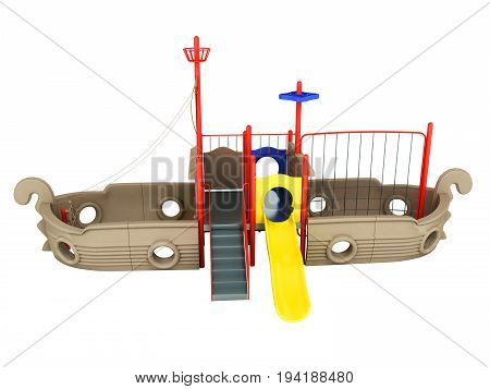 Playground Ship Blue Red Yellow 3D Render On White Background No Shadow