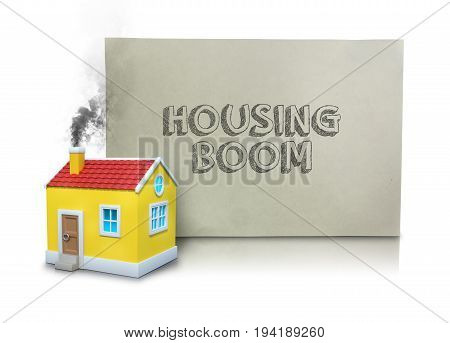 Digital composite image of smoke emitting from house model with housing boom text on placard against white background