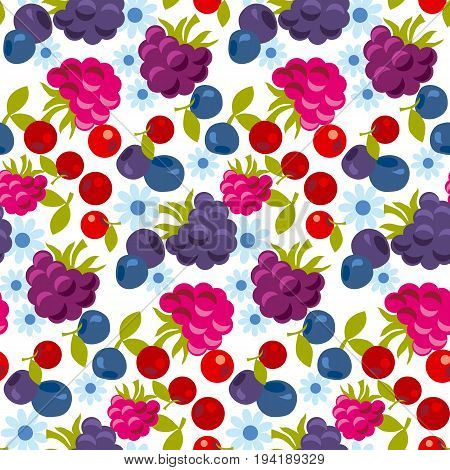 assorted forest berry seamless pattern. vector illustration.