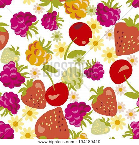 assorted red berry seamless pattern. vector illustration.