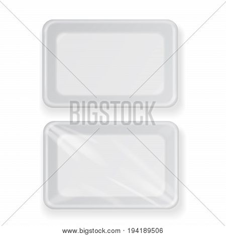 White empty plastic container for food. Packaging template for meat, fish and vegetables