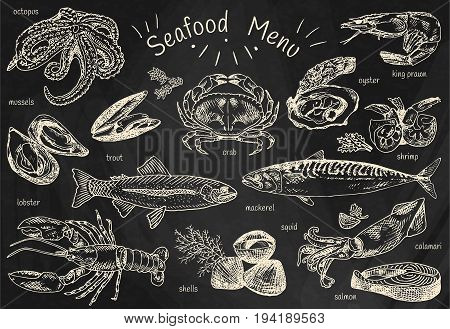 seafood menu, octopus, mussels, lobster, trout, shells, mackerel, crab, oyster, king prawns, shrimps, squid, salmon, calamari