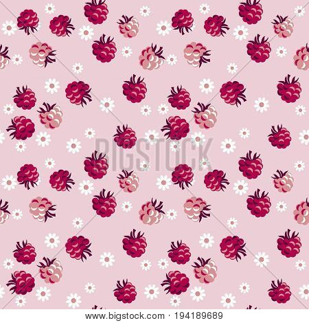 red berry on pale rosy background  seamless pattern. vector illustration.