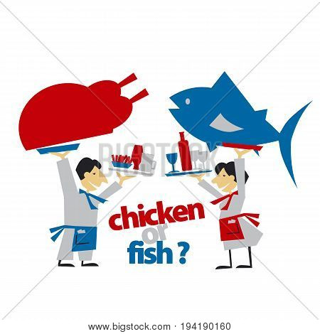 cafe waiters hold meat and fish. simple flat header. vector illustration on white background
