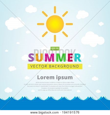 Summer vector illustration with seascape sun and cloud for banner or poster. Vector illustration copy space