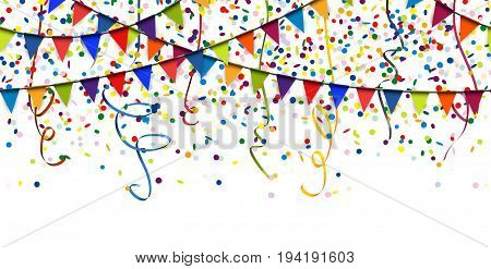 seamless colored garlands streamers and confetti background for party or festival usage