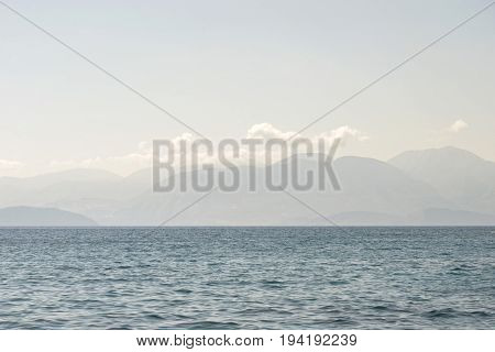 sea in the morning, mountain landscape background