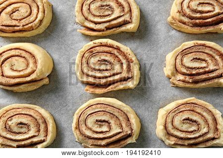 Closeup view of raw cinnamon rolls