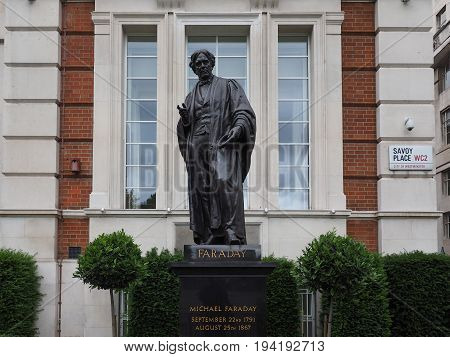Faraday Monument In Savoy Place In London