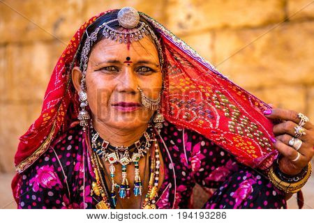 Traditional Indian woman in sari costume, India