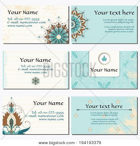 Set of six horizontal business cards. Oriental floral pattern on vintage background. Shabby surface. Complied with the standard sizes