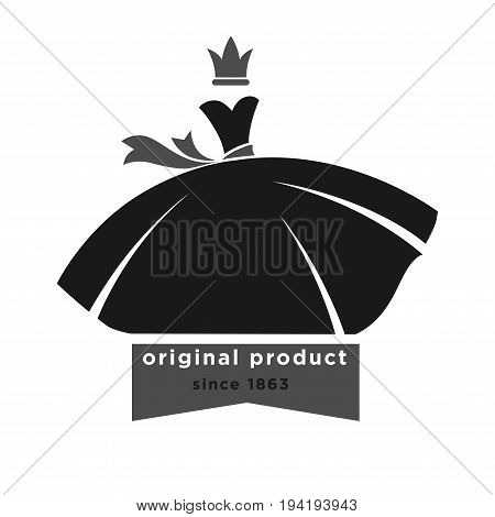 fashion boutique with original product since 1863 monochrome promotional emblem. Black ball gown with ribbon belt and small grey crown above isolated vector illustration on white background.