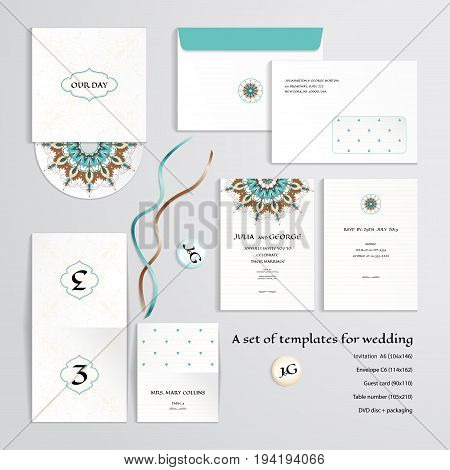 Vector templates to design a wedding. Oriental floral pattern on vintage background. Invitation envelope guest card table number discs with packaging magnets and tapes. Dimensions are given.