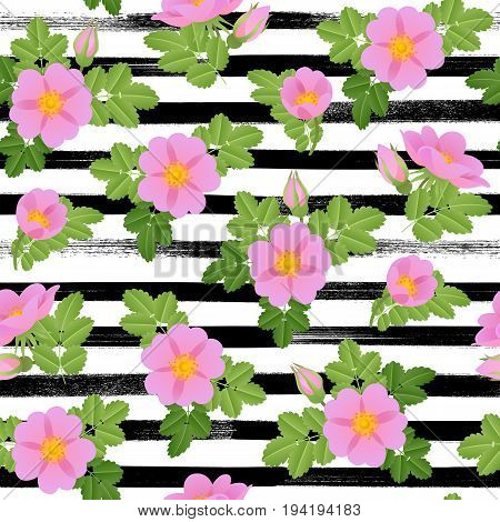 Dog-rose branch with pink flowers and leaves on paintbrush lines. background. Seamless pattern. Wild rose vector illustration. Rose hips.
