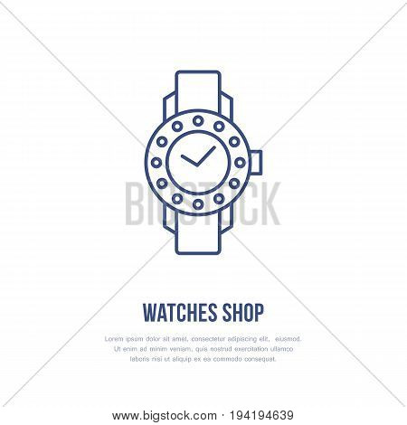 Watches with diamonds illustration. Wristwatch flat line icon, clock store or repair service logo. Expensive accessories sign.