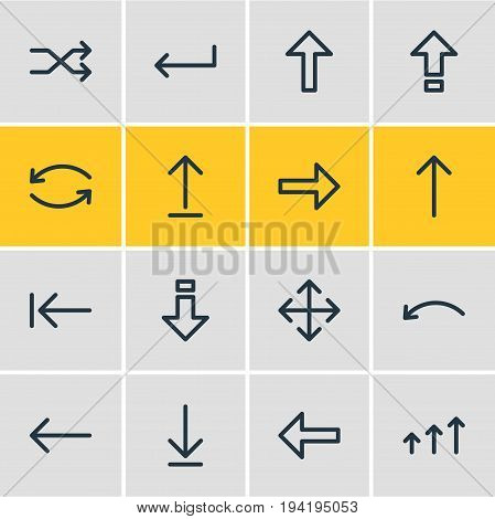 Vector Illustration Of 16 Direction Icons. Editable Pack Of Submit, Shrift, Left And Other Elements.