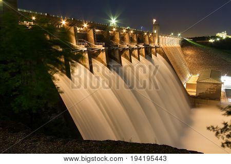 Table Rock Lake Dam on May 4th 2017 with the Army Corps of Engineers having all the gates open and flowing. Table Rock Lake is located just outside of the Branson Missouri area in the Ozarks.