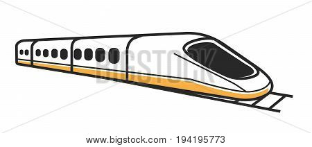 Japanese modern high-speed train with toned windows and first car of streamlined shape isolated vector illustration on white background. Transportation technologies for fast and comfortable trip.