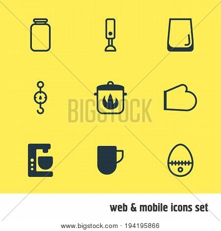 Vector Illustration Of 9 Cooking Icons. Editable Pack Of Tea Cup, Stewpot, Steelyard And Other Elements.