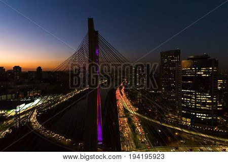 Estaiada Bridge in a Beautiful Evening Hour in Sao Paulo, Brazil