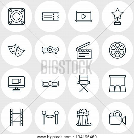 Vector Illustration Of 16 Cinema Icons. Editable Pack Of Filmstrip, Camera, Cinema Fence And Other Elements.