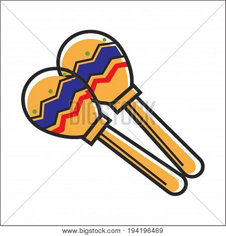 Mexican colorful maracas closeup vector illustration in graphic design. Musical instrument made of wood having thick stick and ball-shaped top with ornament. Tools for festivals that make music