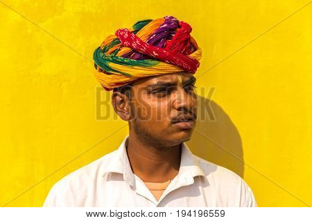 Young Rajasthani Indian in the street of Jaipur, Rajasthan, India
