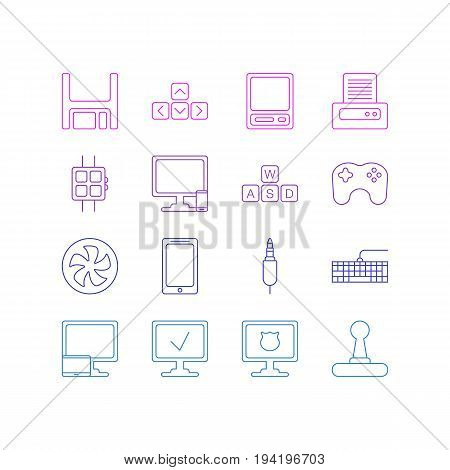 Vector Illustration Of 16 Laptop Icons. Editable Pack Of Modern Watch, Printer, Keyboard And Other Elements.
