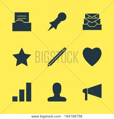 Vector Illustration Of 9 Online Icons. Editable Pack Of Love, Thumbtack, Document Directory And Other Elements.
