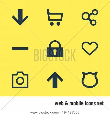 Vector Illustration Of 9 Member Icons. Editable Pack Of Downward, Snapshot, Publish And Other Elements.
