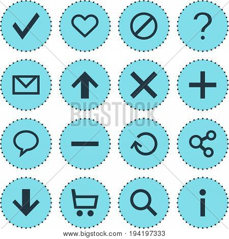 Vector Illustration Of 16 User Icons. Editable Pack Of Confirm, Help, Info And Other Elements.
