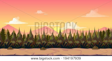 Background for your game, created in modern pinky colours. Sunset and twilight time. illustration.